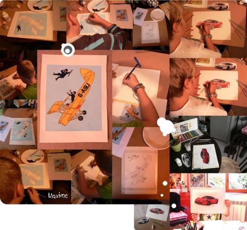 dessin,crayons de couleur,aquarelle,gouache,voiture de sport,ferrari 458 italia,tintin et l'île noire,avion jaune,dupond & dupont