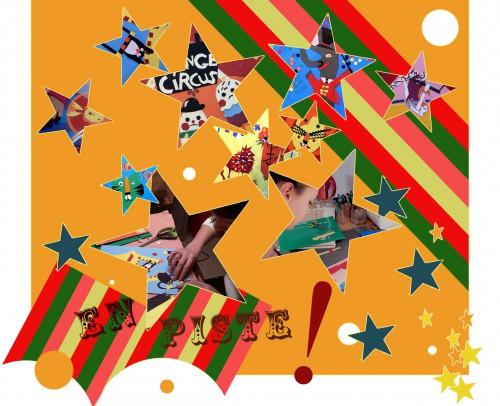 cirque,animaux,jongleurs,trapéziste,technique du collage,papiers collés