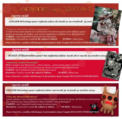 stages d'automne,stages,vacances de la toussaint,enfants,adolescents,cours,créations,loisirsvacances de la toussaint,loisirs,monstres,illustration,carte à gratter
