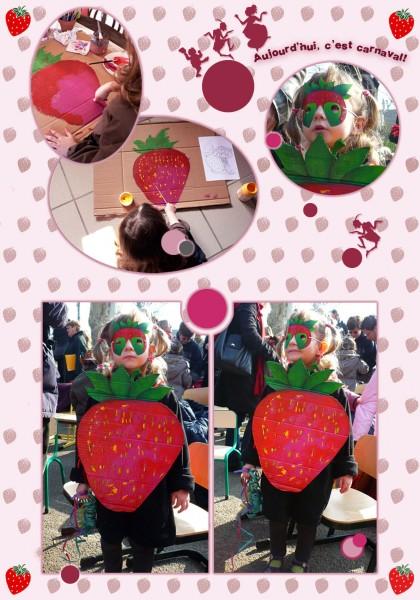 carnaval,déguisement,costume,fraise,super fraisier,carton,peinture