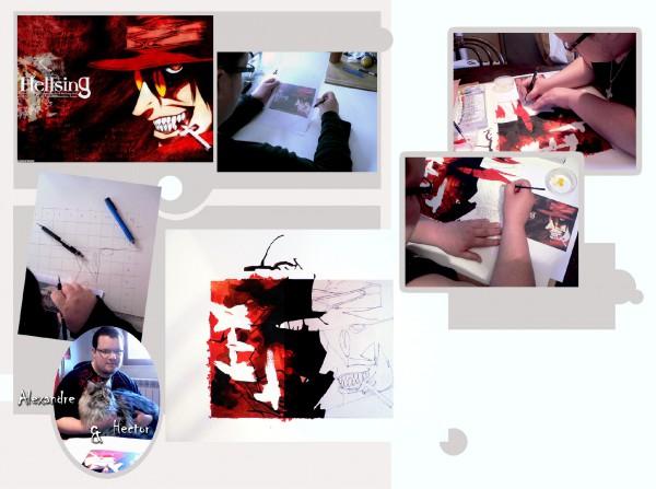 hellsing,dessin,peinture gouache,encres