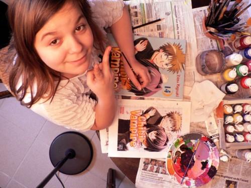 couleurs,peinture,gouaches,mise aux carreaux,manga,chibi vampire karin