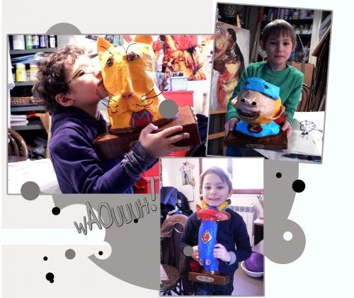 buste d'animaux,super héro,catcheur,girafe,chimpanzé,léopard
