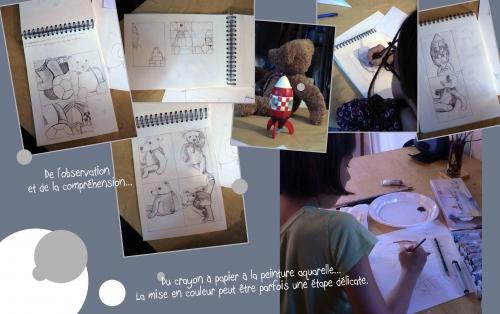 peinture acrylique,oiseaux,dessin à vue,nauture morte,dessin,mine de plomb et crayon à papier,corde,cagette,nounours,ourson en peluche,fusée,balle,jouets,bernard vercruyce,animaux
